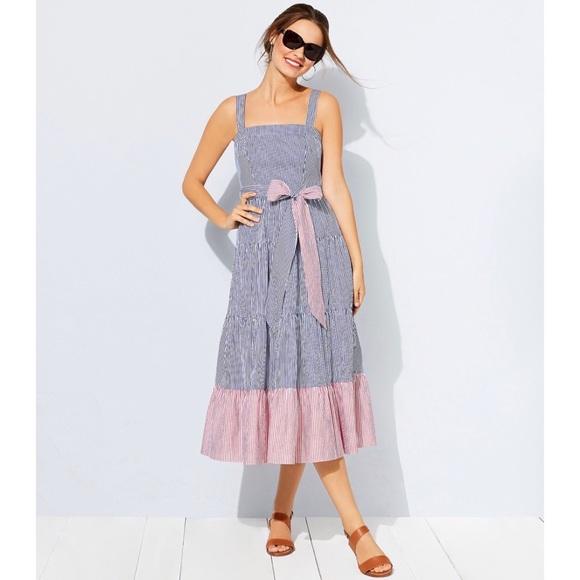 348051d0f4a8 NWT Eliza J Tiered Stripe Tie Waist Midi Dress